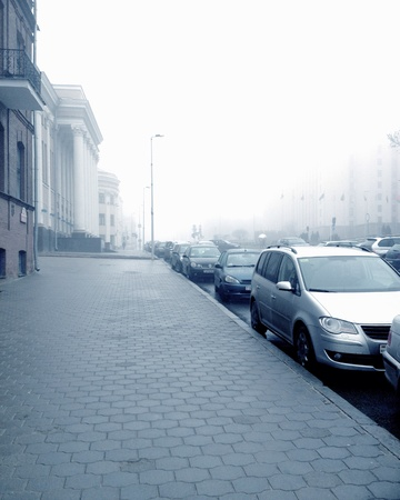urban: Street in the morning mist