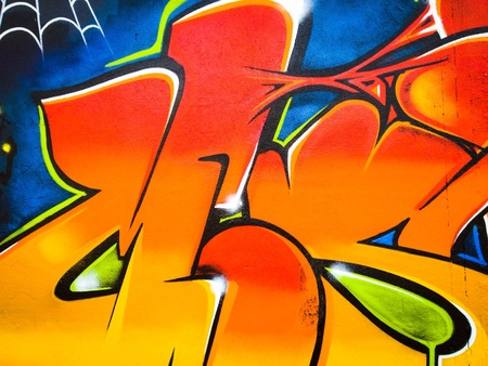 urban: Vibrant graffiti wall