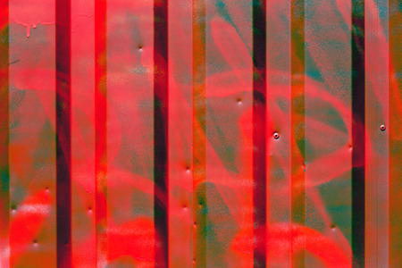 metal sheet: Red color corrugated metal sheet as background Stock Photo