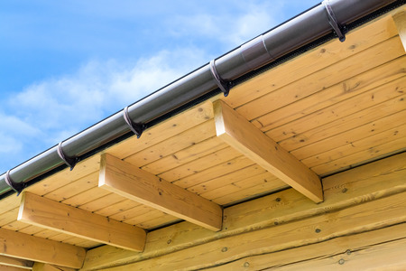 rafters: Roof structure with wooden rafters in traditional style Stock Photo