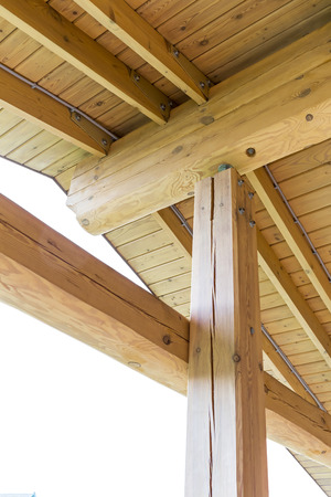 rafters: Interior view of a wooden roof structure, rafters and trusses