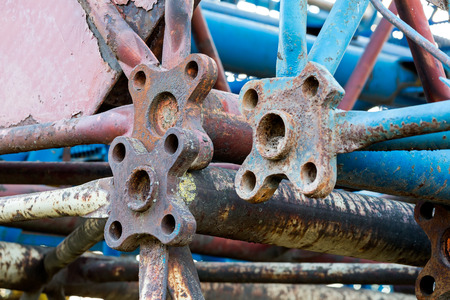 heavy joist: Steel structure of old disassembled building cranes closeup