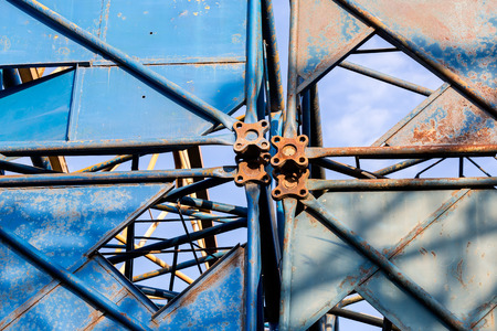 joist: Steel structure of old disassembled building cranes closeup