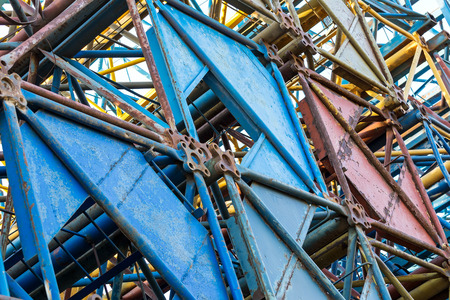 steelwork: Steel structure of old disassembled building cranes closeup