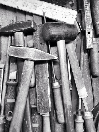 rasp: Set of hammers and rasp files in workshop