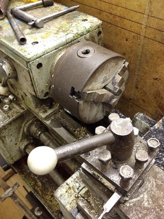 detail: Old lathe machine in workshop