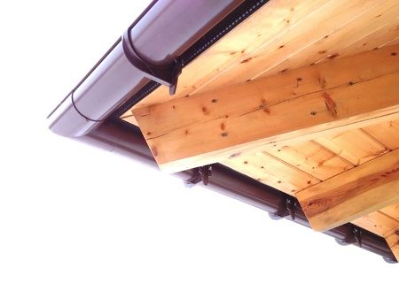 rafters: Wooden roof corner with gutter