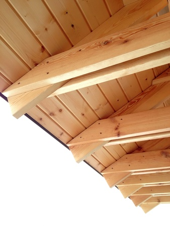 detail: Wooden roof detail of new home Stock Photo