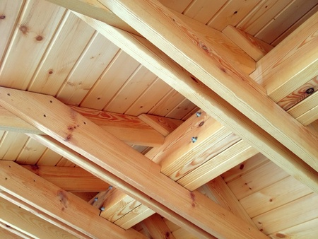 detail: Inside view of the roof structure with wooden beams