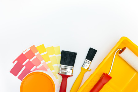 paint swatch: various painting tools and color palette on white background Stock Photo