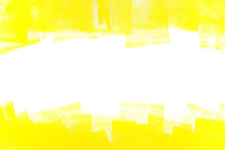 yellow paint: strokes of yellow paint roller on white wall Stock Photo