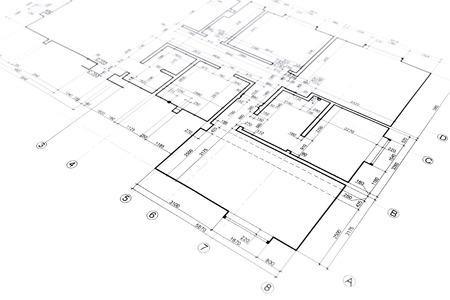 家の計画の青写真建築建築プロジェクトの一部を描画