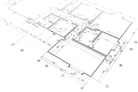 house plan blueprint architectural drawing part of architectural project Standard-Bild