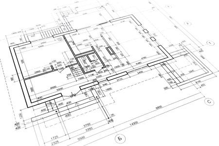 建築プロジェクトのエンジニア リングと建築図面の一部