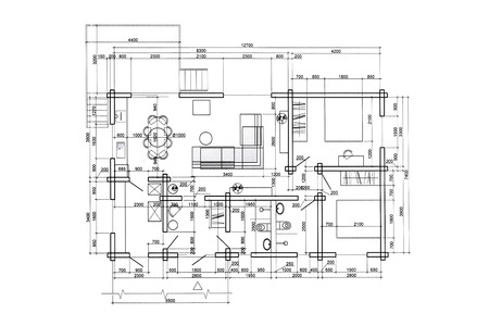 floor plan blueprints engineering and architecture drawings Reklamní fotografie - 41137901