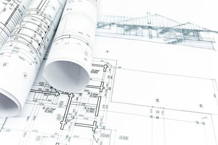 huis schets met techniek en architectuur blauwdrukken