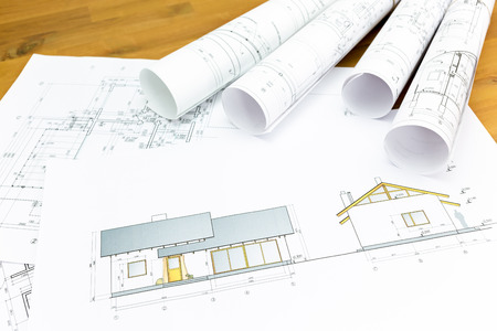 Home Construction: Architectural Blueprints And Construction Plans Rolls Of New  Home