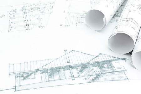 housing project: housing project sketch and house plan blueprints Stock Photo
