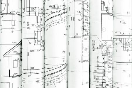 dibujos lineales: rollos de planos de arquitectura y dibujo técnico fondo arquitectónico