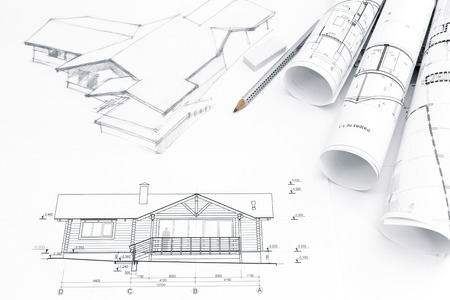 architectural drawing with engineering and architecture blueprints Archivio Fotografico
