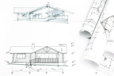 建築工学の青写真と一緒に家スケッチ