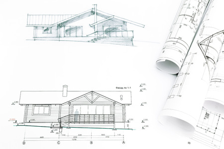 house sketch with engineering and architecture blueprints