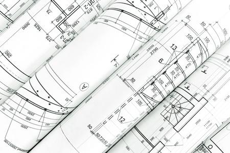 lijntekening: rollen van architectuur blauwdrukken en technische tekeningen bouwkundige achtergrond