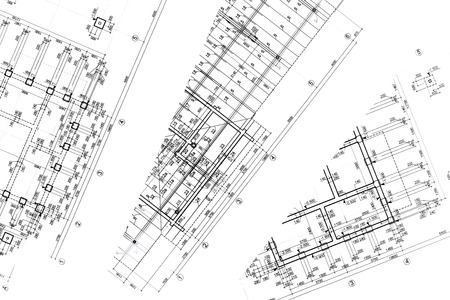 construction project: part of architectural project construction plan architectural plan architectural background Stock Photo