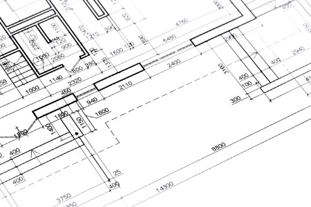 home plans and drawings architectural blueprints construction plan Stock Photo