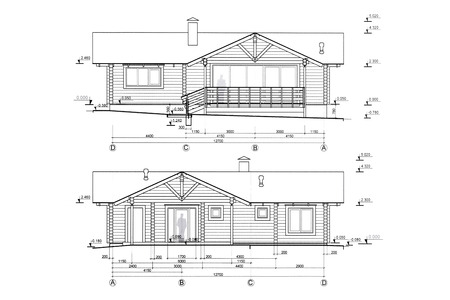 residential house: architectural blueprints project of new residential house Stock Photo
