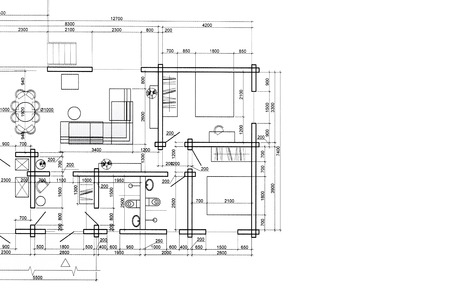 Parte dibujo arquitectónico casa Modelo del plan de proyecto arquitectónico Foto de archivo - 41658506