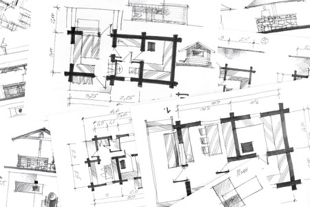 architectural drawings: concept of home renovation with architectural drawings as background Stock Photo