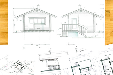 design drawing: home renovation concept with blueprints and architectural hand drawings