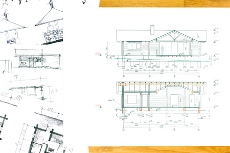 design drawing: project of house with architectural sketches on wooden background