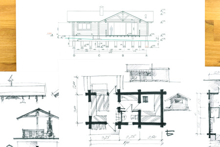 housing project: sketch of housing project on a wooden desk Stock Photo