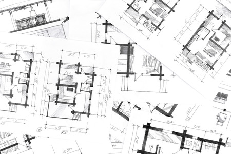paper art projects: concept of home renovation with architectural drawings as background Stock Photo