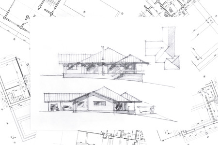 home renovation: home renovation concept with architectural hand drawing and blueprints