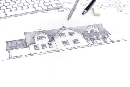 paper art projects: architect workplace with hand drawings and blueprints
