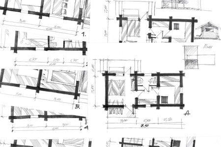 paper art projects: sketch drawings for new home renovation architectural background