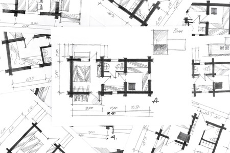 home renovation: sketch drawings for new home renovation architectural background
