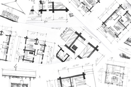 building blueprint: concept of home renovation with architectural drawings as background Stock Photo