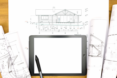 stylus: architectural plans with stylus on electronic tablet