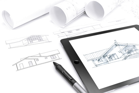 stylus: tablet computer with drawing, stylus and house plan blueprints