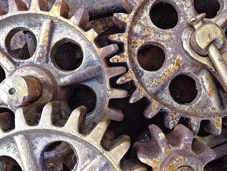 Closeup view of rusty gears from old mechanism Stock Photo
