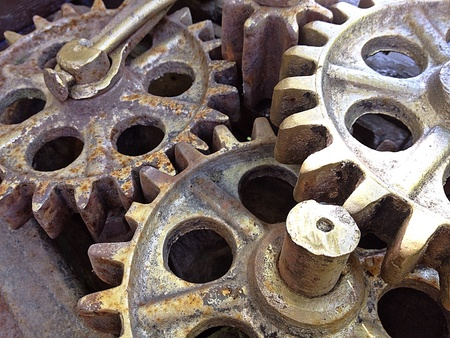 industrial: Old rusty gear wheels, industrial machinery part Stock Photo