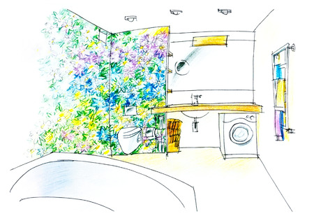 flowered: sketch of a bathroom with a colorful flowered panel