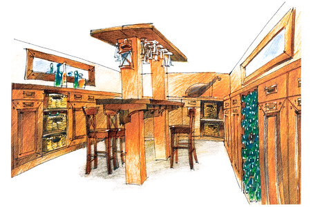 apartment suite: bar suit sketch which is a part of a modern loft interior