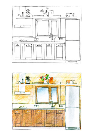 double sink: diptych of a kitchen in black and white and in color