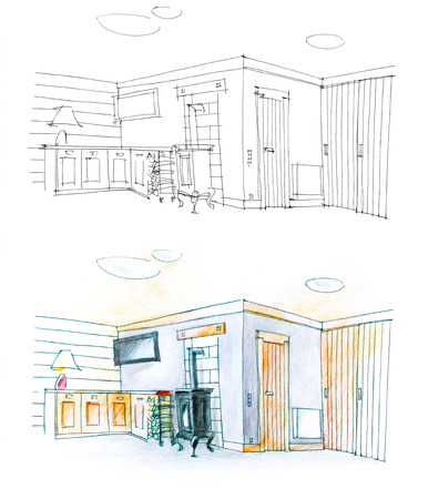 drawing room: colorful and black and white diptych of a hall and drawing room Stock Photo