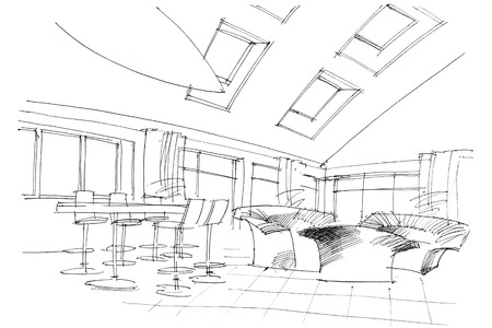 white window: black and white drawing of a modern lounge place with sofas and high stools Stock Photo